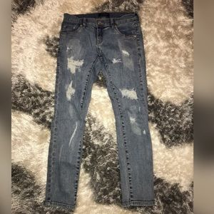 Denim - Light wash destructed skinny jeans